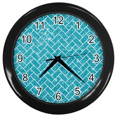 Brick2 White Marble & Turquoise Glitter Wall Clocks (black) by trendistuff