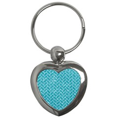Brick2 White Marble & Turquoise Glitter Key Chains (heart)  by trendistuff