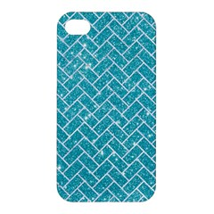 Brick2 White Marble & Turquoise Glitter Apple Iphone 4/4s Hardshell Case by trendistuff