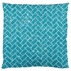 Brick2 White Marble & Turquoise Glitter Large Cushion Case (two Sides) by trendistuff
