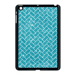 Brick2 White Marble & Turquoise Glitter Apple Ipad Mini Case (black) by trendistuff