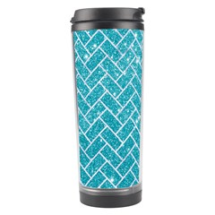 Brick2 White Marble & Turquoise Glitter Travel Tumbler by trendistuff