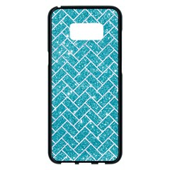 Brick2 White Marble & Turquoise Glitter Samsung Galaxy S8 Plus Black Seamless Case by trendistuff