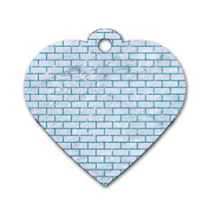 Brick1 White Marble & Turquoise Glitter (r) Dog Tag Heart (one Side) by trendistuff
