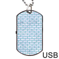 Brick1 White Marble & Turquoise Glitter (r) Dog Tag Usb Flash (one Side) by trendistuff