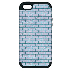 Brick1 White Marble & Turquoise Glitter (r) Apple Iphone 5 Hardshell Case (pc+silicone) by trendistuff