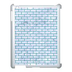 Brick1 White Marble & Turquoise Glitter (r) Apple Ipad 3/4 Case (white) by trendistuff