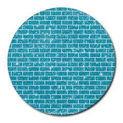 Brick1 White Marble & Turquoise Glitter Round Mousepads by trendistuff