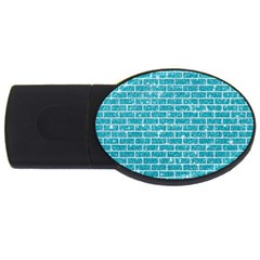 Brick1 White Marble & Turquoise Glitter Usb Flash Drive Oval (2 Gb) by trendistuff