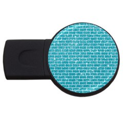 Brick1 White Marble & Turquoise Glitter Usb Flash Drive Round (4 Gb) by trendistuff