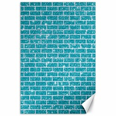 Brick1 White Marble & Turquoise Glitter Canvas 24  X 36  by trendistuff