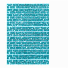 Brick1 White Marble & Turquoise Glitter Small Garden Flag (two Sides)