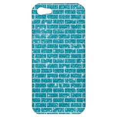 Brick1 White Marble & Turquoise Glitter Apple Iphone 5 Hardshell Case by trendistuff