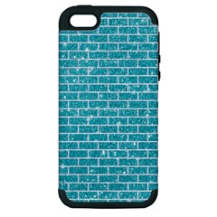 Brick1 White Marble & Turquoise Glitter Apple Iphone 5 Hardshell Case (pc+silicone) by trendistuff