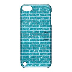Brick1 White Marble & Turquoise Glitter Apple Ipod Touch 5 Hardshell Case With Stand by trendistuff