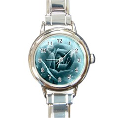 Beautiful Blue Roses With Water Drops Round Italian Charm Watch by FantasyWorld7