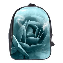 Beautiful Blue Roses With Water Drops School Bag (large) by FantasyWorld7