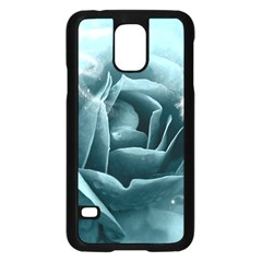 Beautiful Blue Roses With Water Drops Samsung Galaxy S5 Case (black) by FantasyWorld7