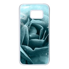 Beautiful Blue Roses With Water Drops Samsung Galaxy S7 White Seamless Case by FantasyWorld7