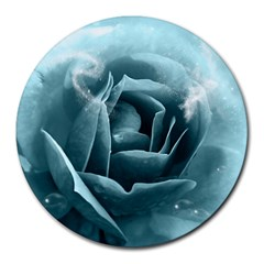 Beautiful Blue Roses With Water Drops Round Mousepads by FantasyWorld7