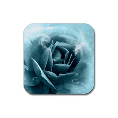 Beautiful Blue Roses With Water Drops Rubber Coaster (square)  by FantasyWorld7