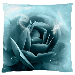 Beautiful Blue Roses With Water Drops Large Flano Cushion Case (two Sides) by FantasyWorld7
