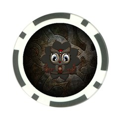 Wonderful Cute  Steampunk Owl Poker Chip Card Guard (10 Pack) by FantasyWorld7