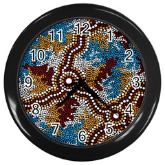 Aboriginal Art – Wetland Dreaming Wall Clocks (black) by hogartharts