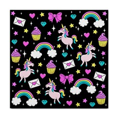 Cute Unicorn Pattern Tile Coasters by Valentinaart