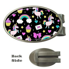 Cute Unicorn Pattern Money Clips (oval)  by Valentinaart