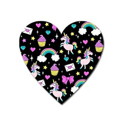 Cute Unicorn Pattern Heart Magnet by Valentinaart
