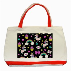 Cute Unicorn Pattern Classic Tote Bag (red) by Valentinaart