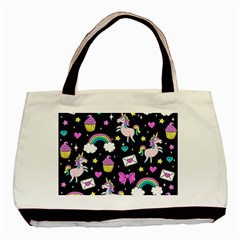 Cute Unicorn Pattern Basic Tote Bag (two Sides) by Valentinaart