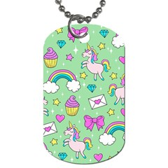 Cute Unicorn Pattern Dog Tag (two Sides)