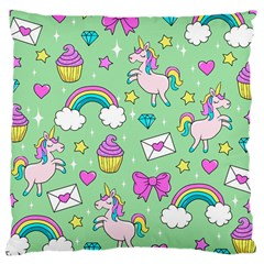 Cute Unicorn Pattern Large Cushion Case (one Side) by Valentinaart