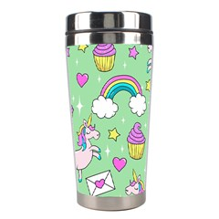 Cute Unicorn Pattern Stainless Steel Travel Tumblers by Valentinaart