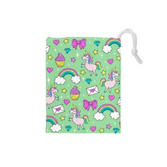 Cute Unicorn Pattern Drawstring Pouches (small)  by Valentinaart