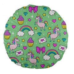 Cute Unicorn Pattern Large 18  Premium Flano Round Cushions by Valentinaart