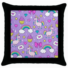 Cute Unicorn Pattern Throw Pillow Case (black) by Valentinaart