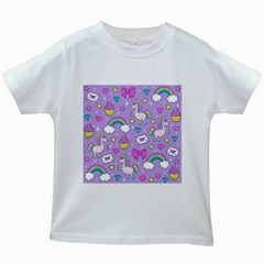 Cute Unicorn Pattern Kids White T Shirts