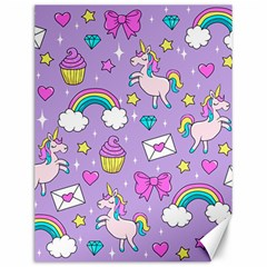 Cute Unicorn Pattern Canvas 12  X 16   by Valentinaart