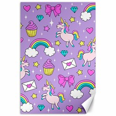 Cute Unicorn Pattern Canvas 24  X 36
