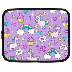 Cute Unicorn Pattern Netbook Case (xxl)  by Valentinaart
