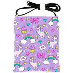 Cute Unicorn Pattern Shoulder Sling Bags by Valentinaart