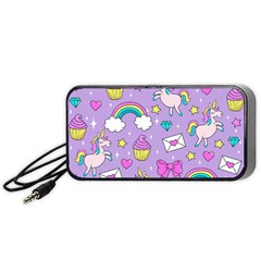 Cute Unicorn Pattern Portable Speaker by Valentinaart
