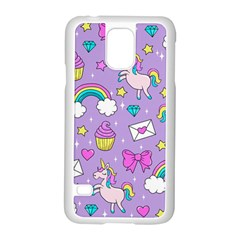 Cute Unicorn Pattern Samsung Galaxy S5 Case (white) by Valentinaart