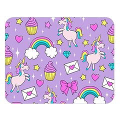 Cute Unicorn Pattern Double Sided Flano Blanket (large)  by Valentinaart