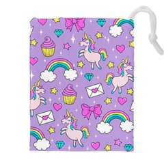 Cute Unicorn Pattern Drawstring Pouches (xxl) by Valentinaart