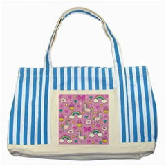Cute Unicorn Pattern Striped Blue Tote Bag by Valentinaart
