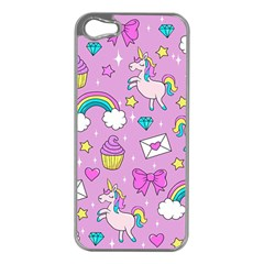 Cute Unicorn Pattern Apple Iphone 5 Case (silver)